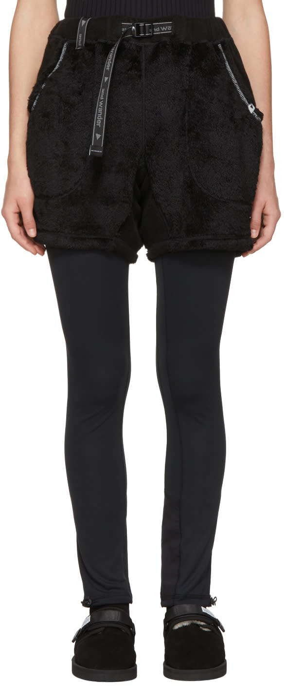 Image of And Wander Black High Loft Fleece Shorts