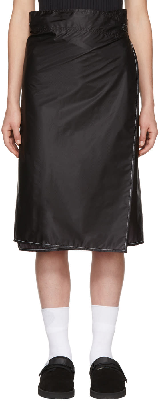 Image of And Wander Black Nylon Wrap Skirt