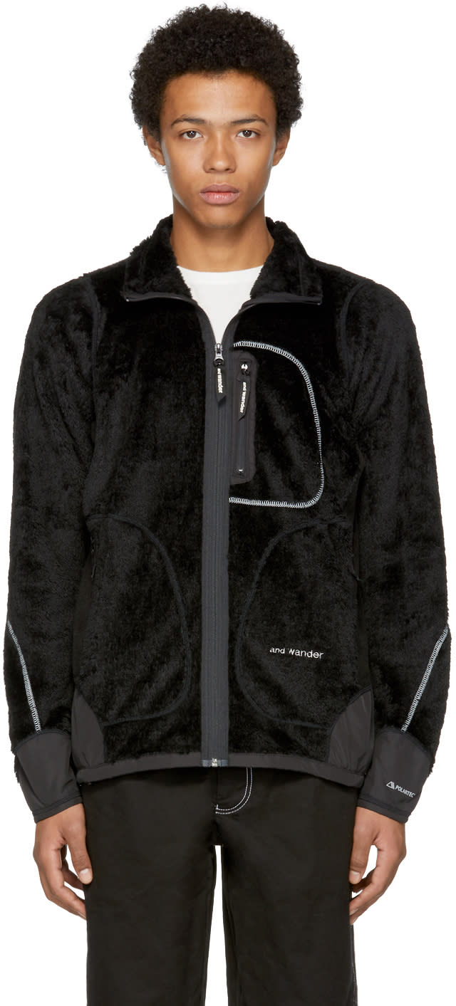 Image of And Wander Black High Loft Fleece Jacket