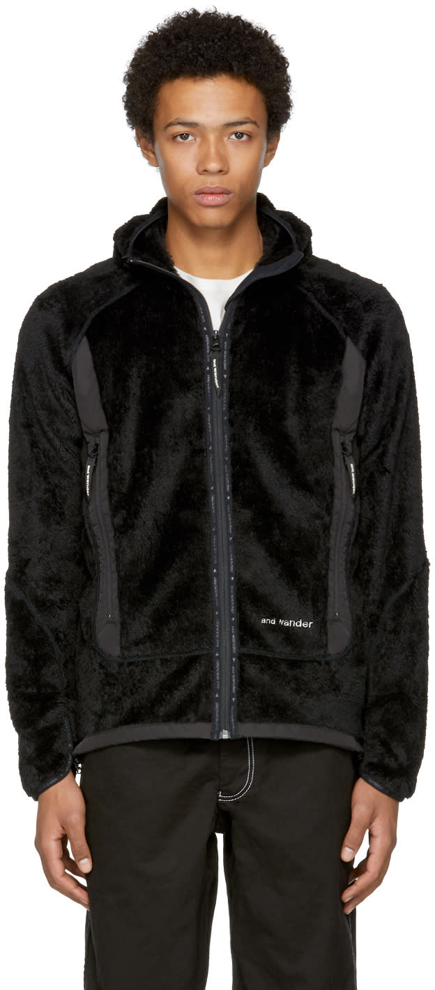 Image of And Wander Black High Loft Fleece Zip Hoodie
