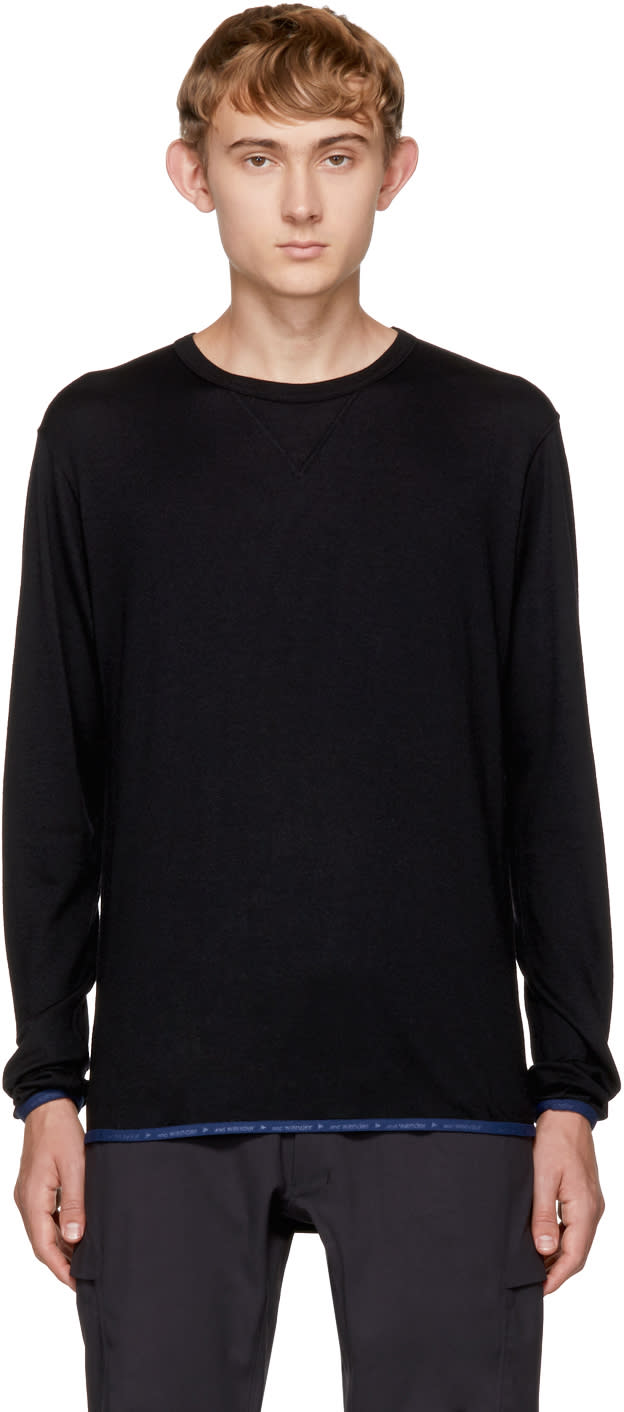 Image of And Wander Black Wool Crew Sweater