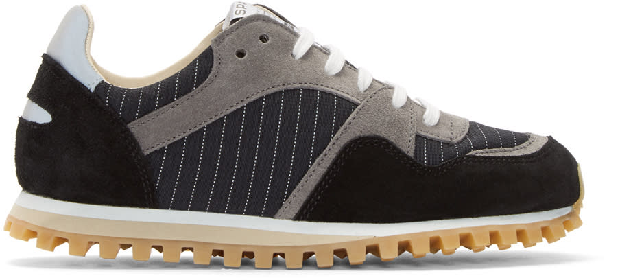 Image of Spalwart Black Marathon Trail Pinstripe Sneakers