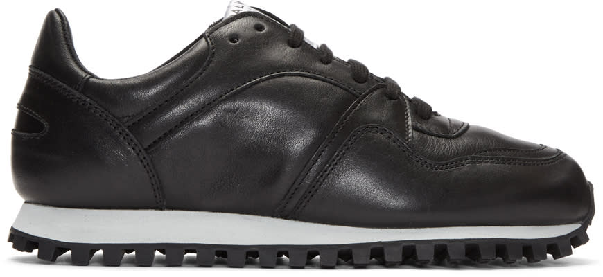 Image of Spalwart Black Leather Marathon Trail Sneakers