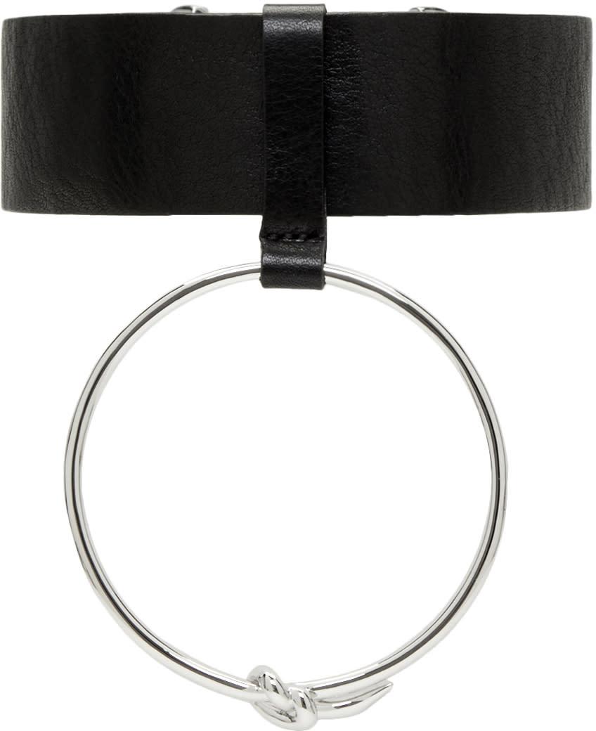 Image of Ambush Black Leather Ring Choker