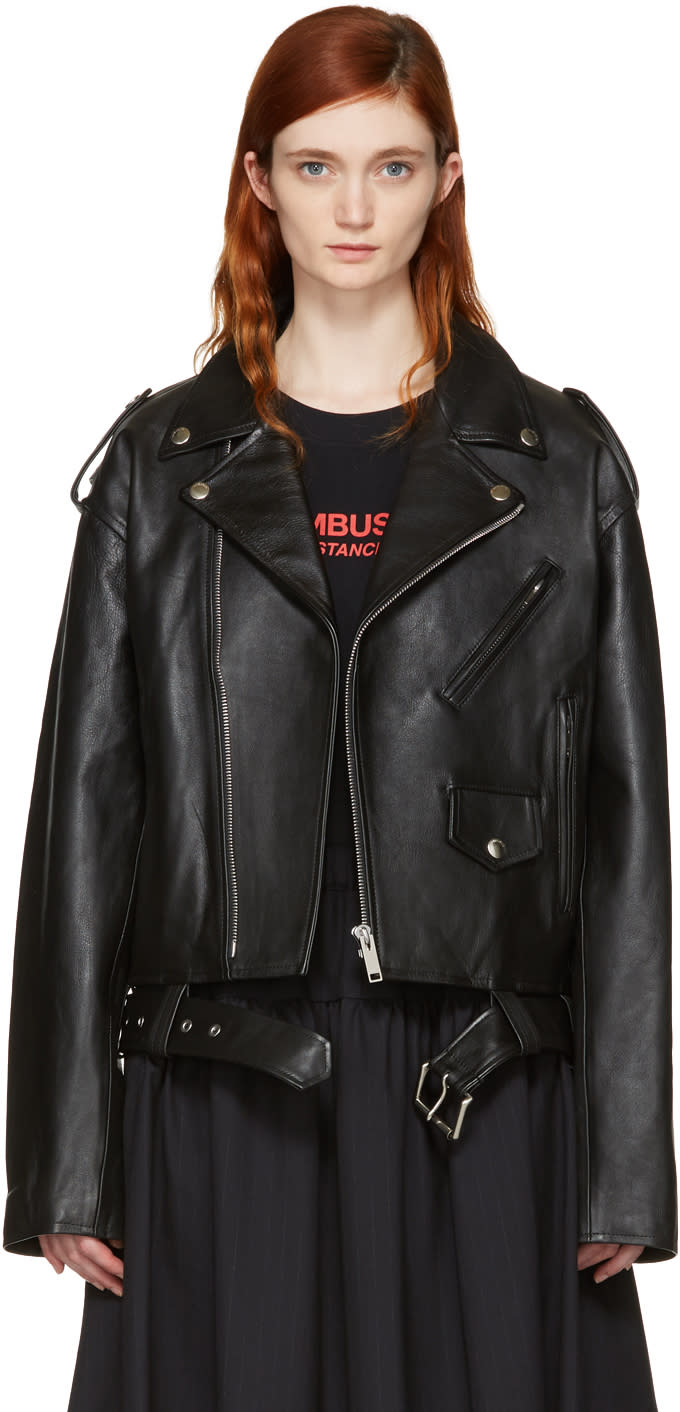 Image of Ambush Black Leather Cropped Biker Jacket
