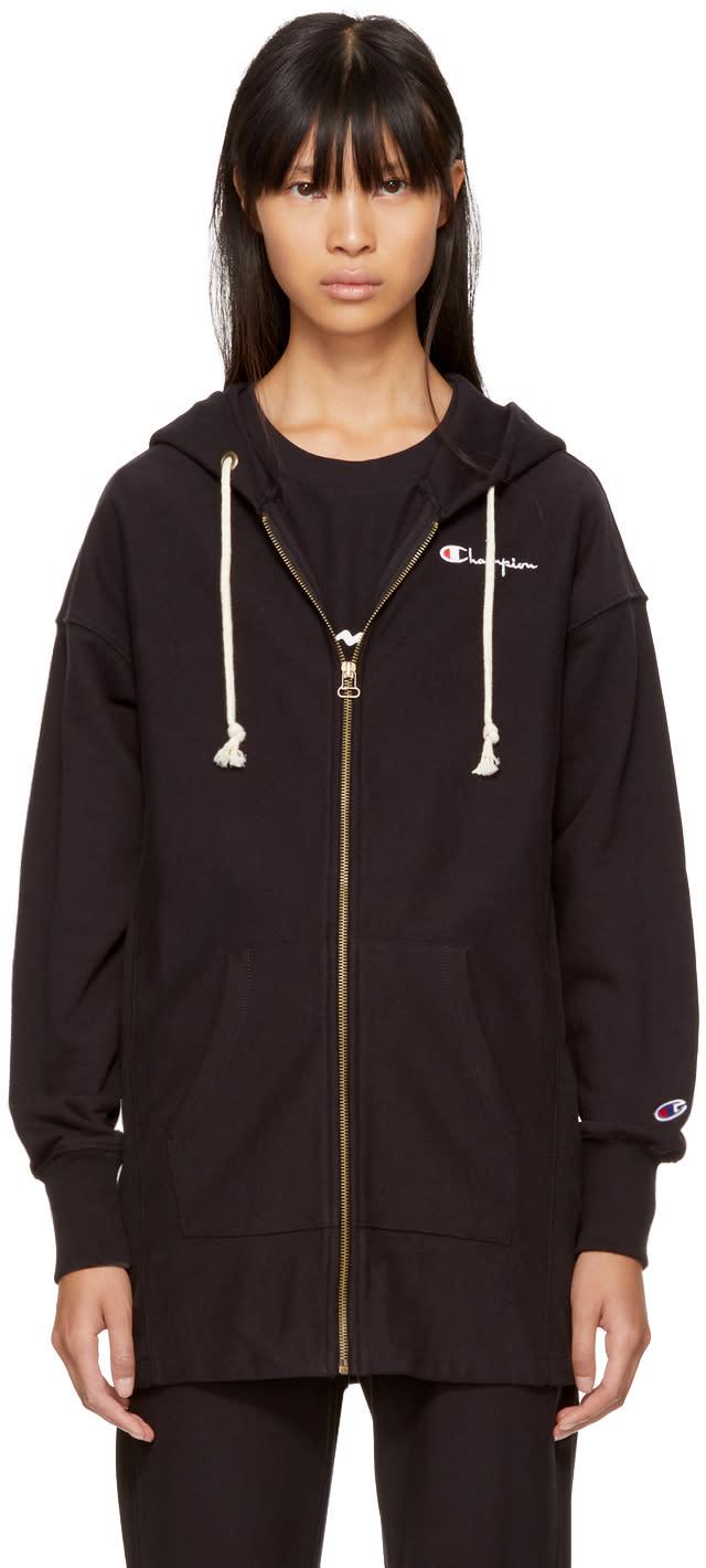 Image of Champion Reverse Weave Black Oversized Logo Zip Hoodie