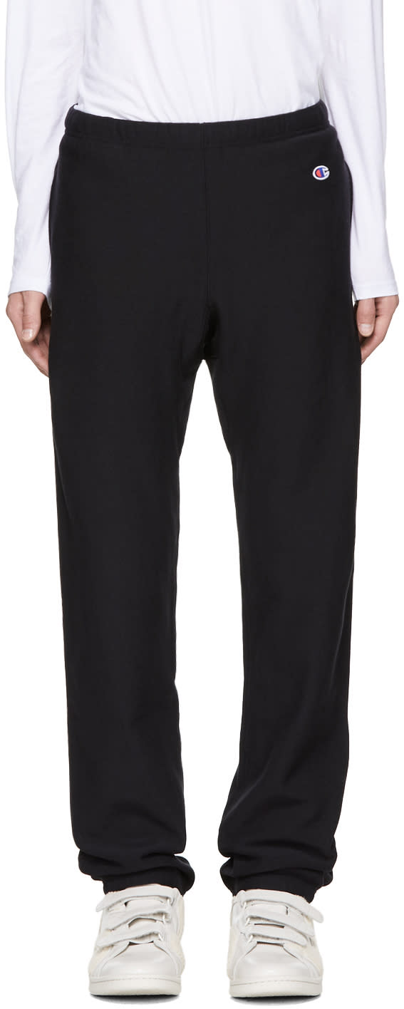 Image of Champion Reverse Weave Black Small Logo Lounge Pants