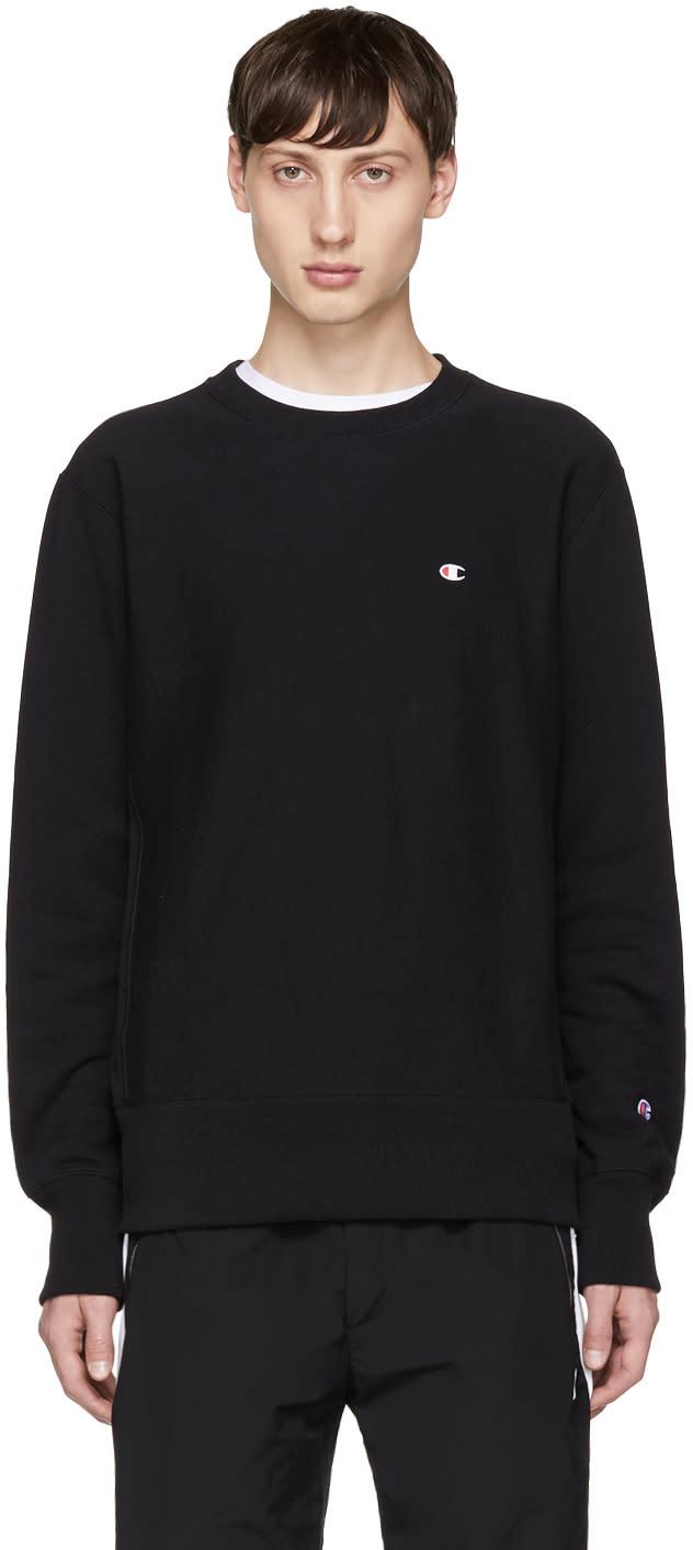 Image of Champion Reverse Weave Black Small Logo Sweatshirt
