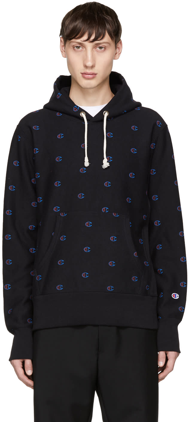 Image of Champion Reverse Weave Black All Over Logo Hoodie