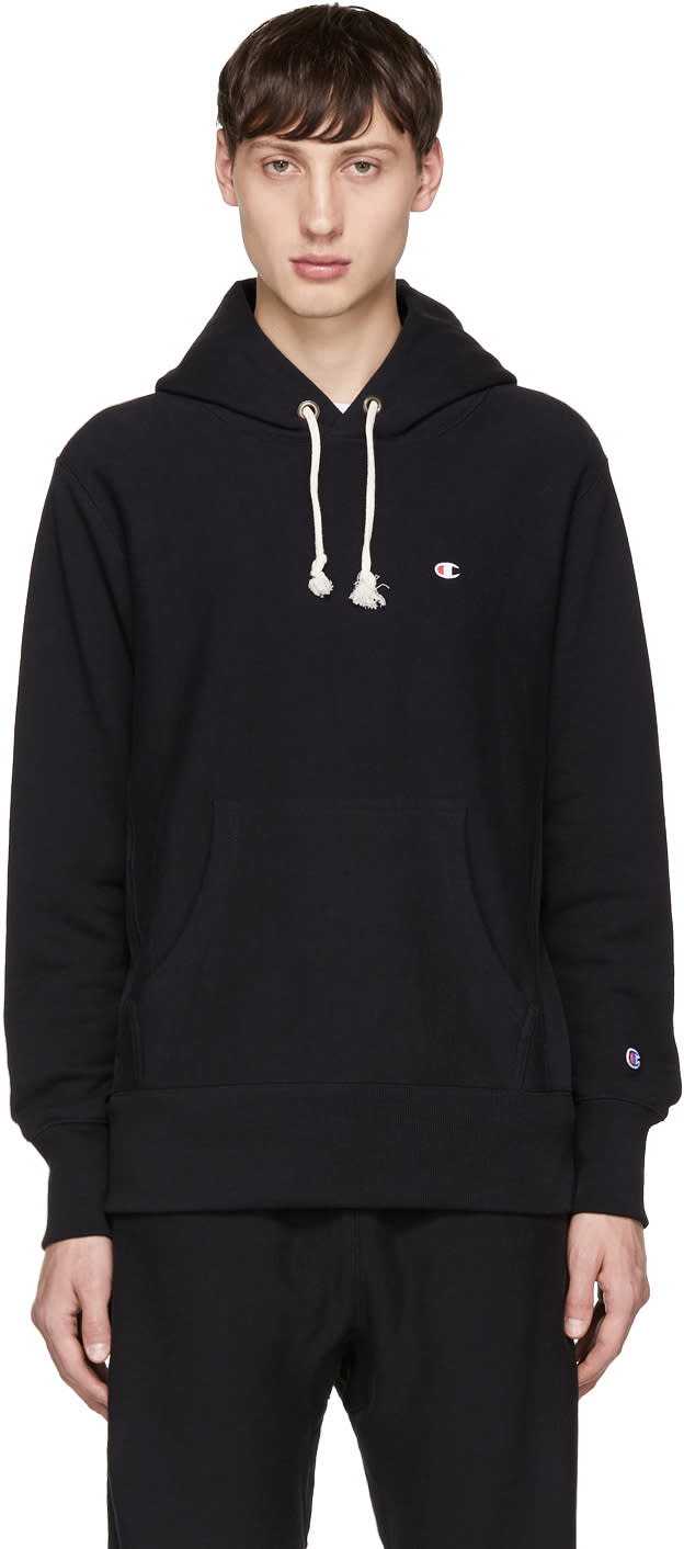 Image of Champion Reverse Weave Black Small Logo Hoodie