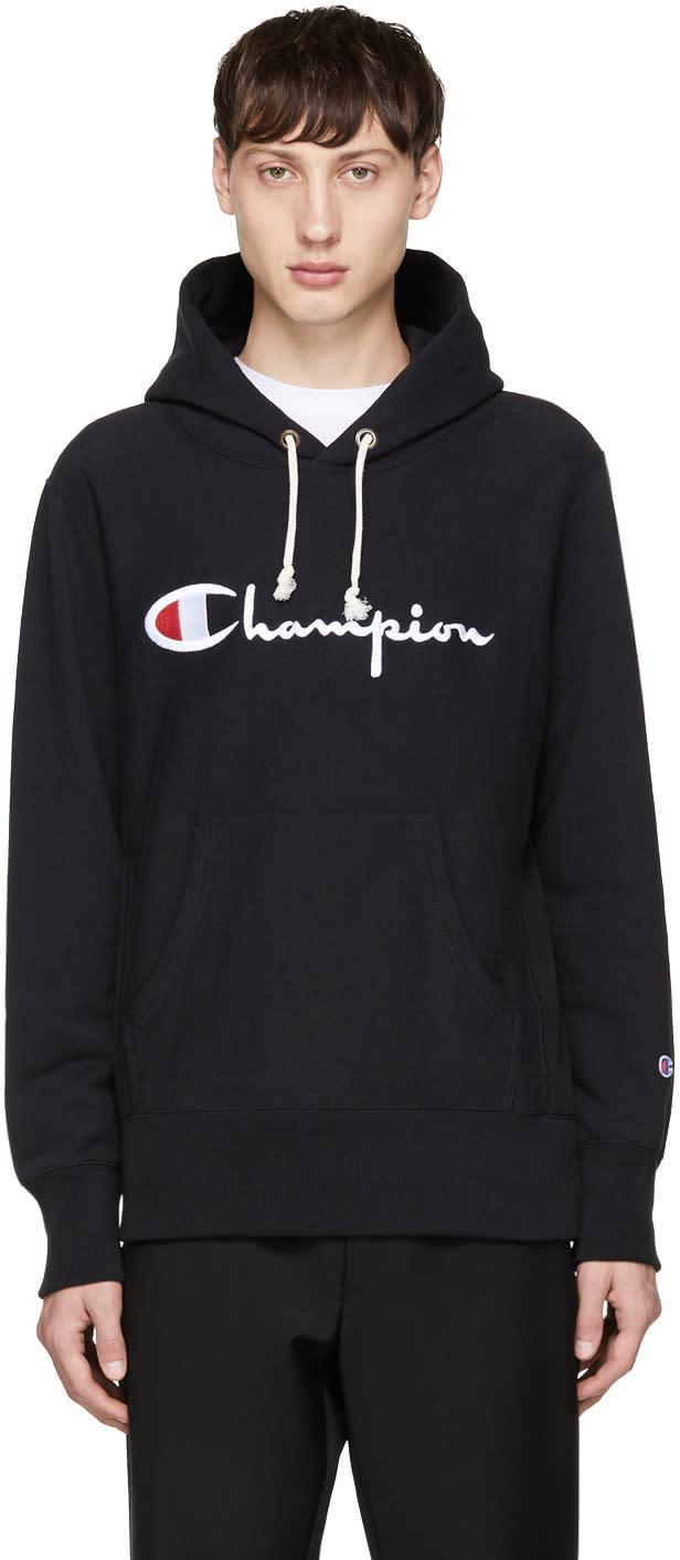 Image of Champion Reverse Weave Black Logo Hoodie