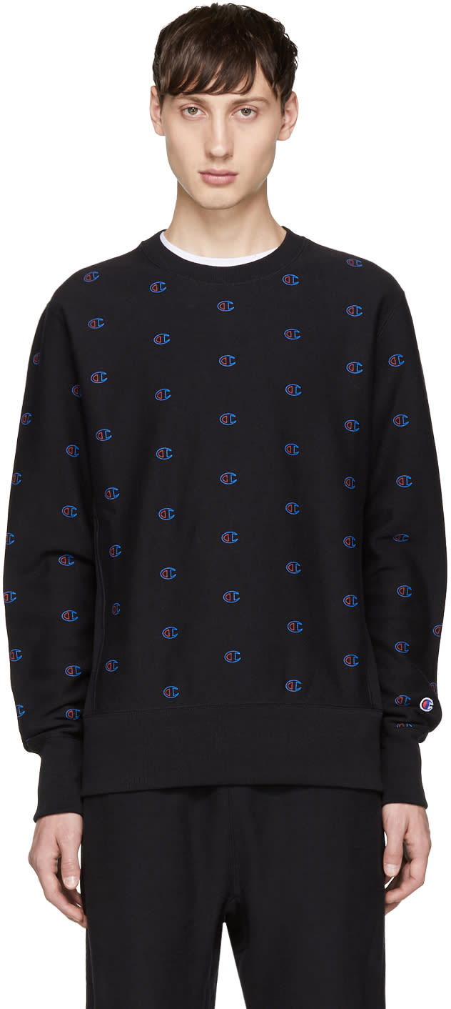 Image of Champion Reverse Weave Black All Over Logo Sweatshirt
