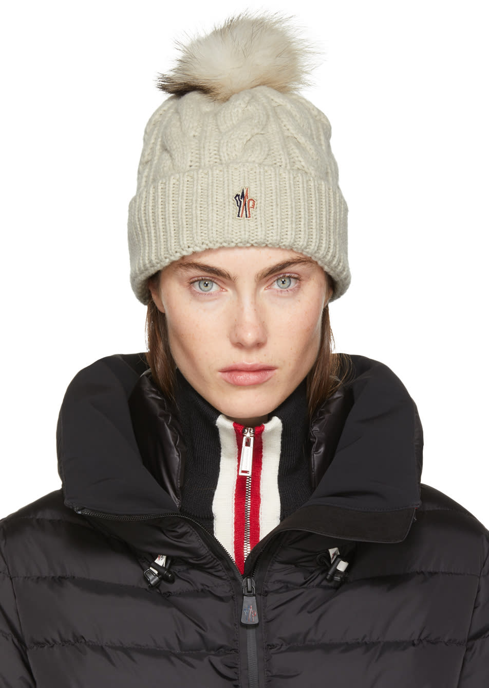 Image of Moncler Grenoble Beige Cashmere and Fur Pom Pom Beanie