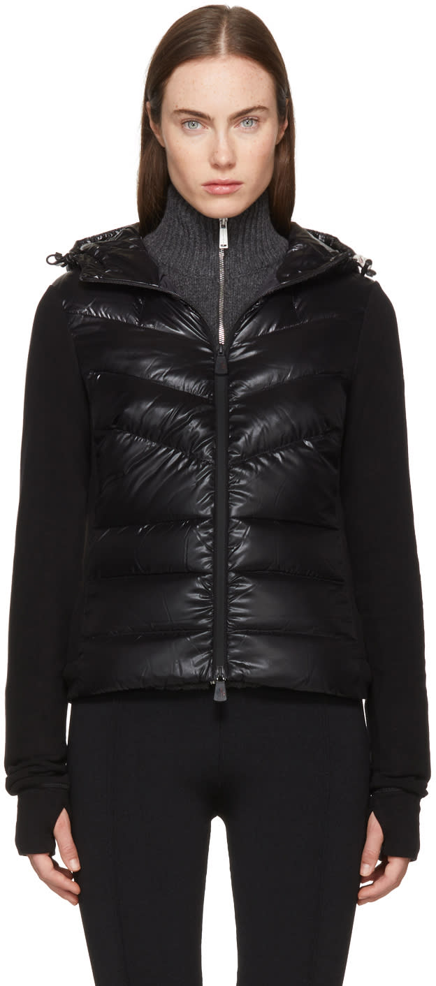 Image of Moncler Grenoble Black Down Cardigan