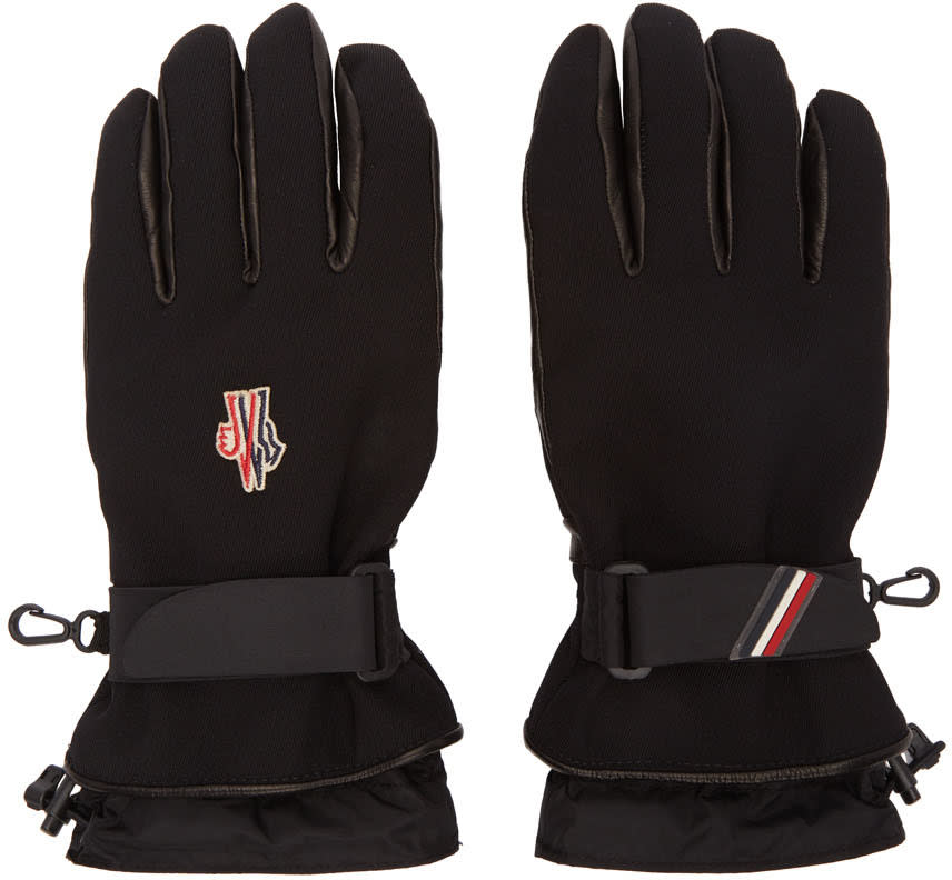 Image of Moncler Grenoble Black Canvas and Lambskin Gloves