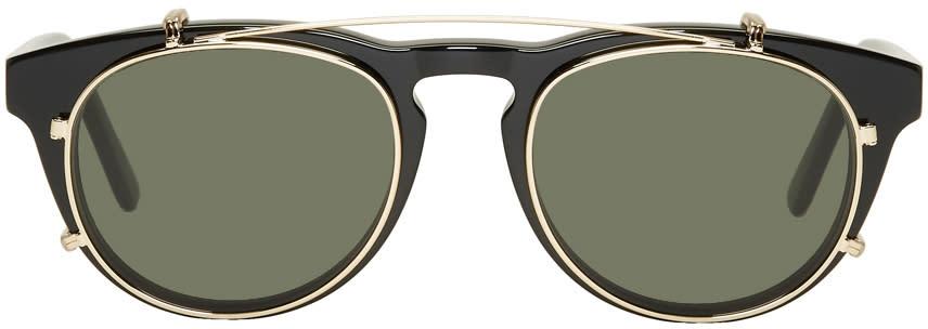 Image of Han Kjobenhavn Black and Green Timeless Clip-on Sunglasses