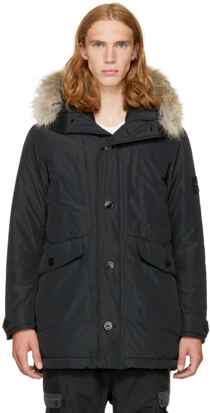 Image of Stone Island Black Down and Fur Jacket
