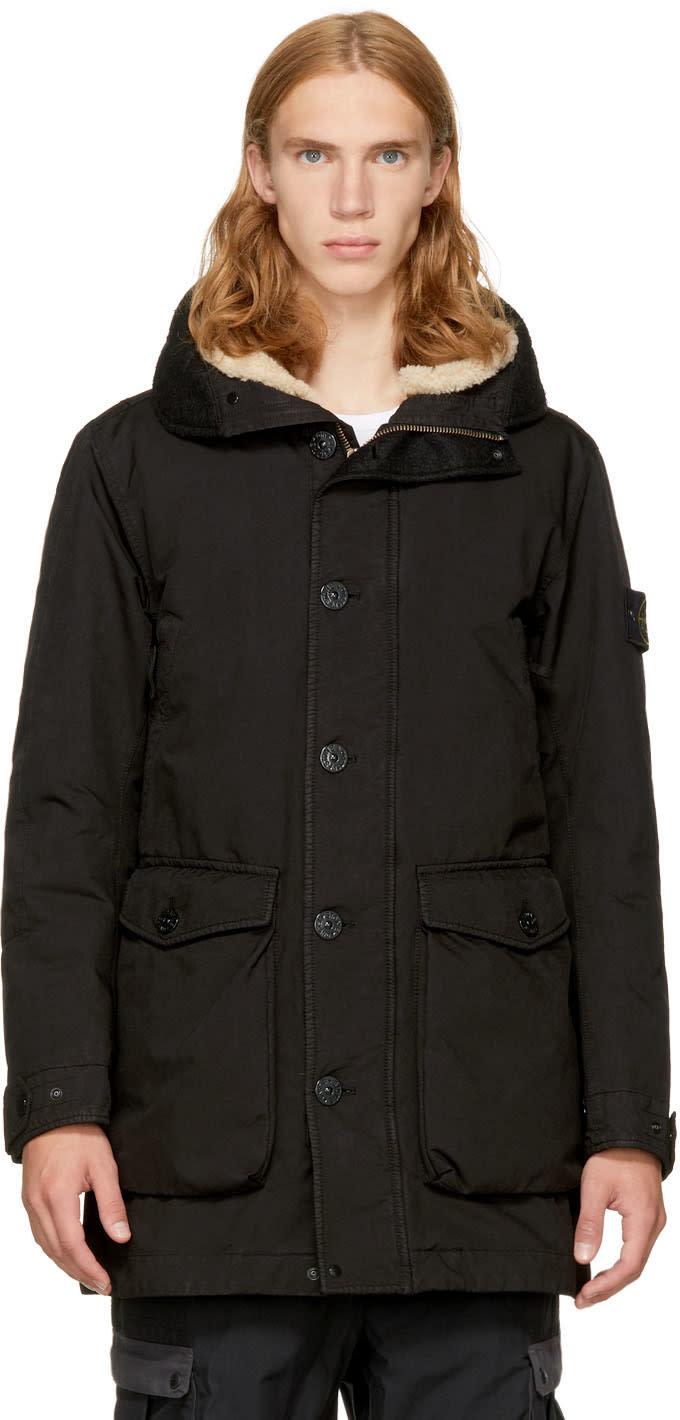 Image of Stone Island Black Down Shearling Hooded Jacket