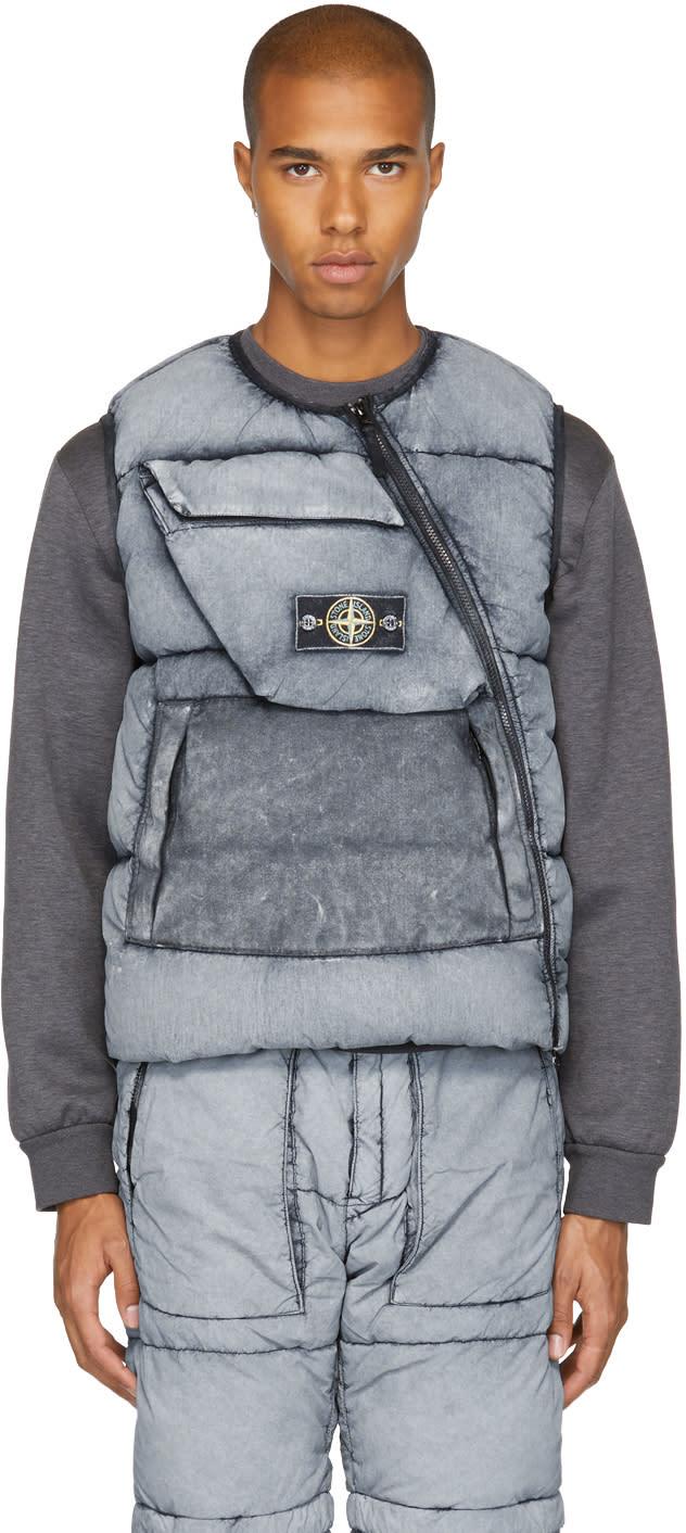 Image of Stone Island Black Down Asymmetric Zip Vest