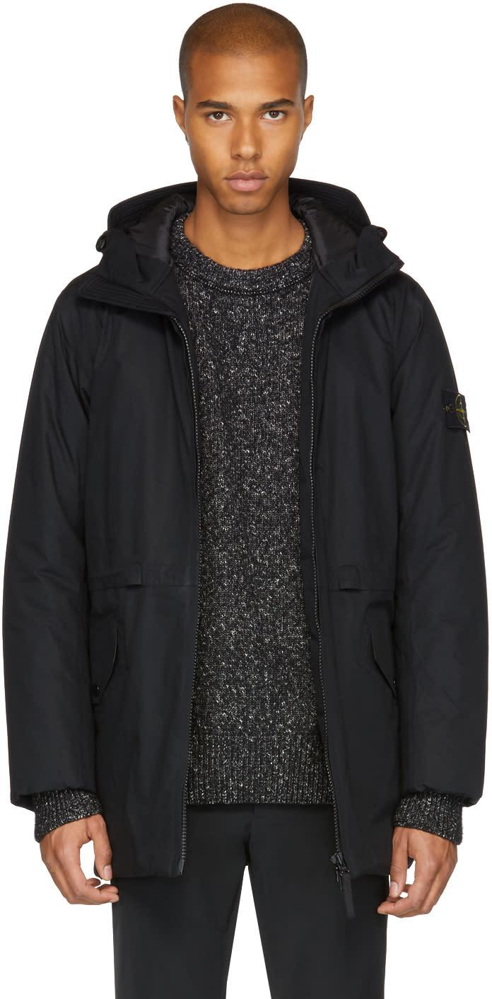 Image of Stone Island Black Hooded Coat