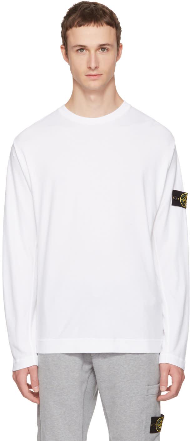 Stone Island ホワイト ロング スリーブ ロゴ T シャツ