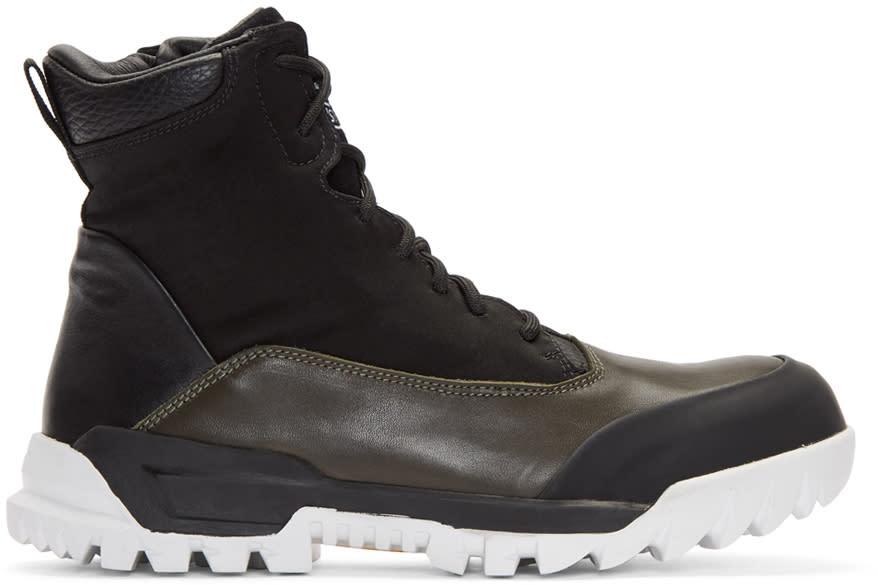 Image of Stone Island Black Lace-up Boots