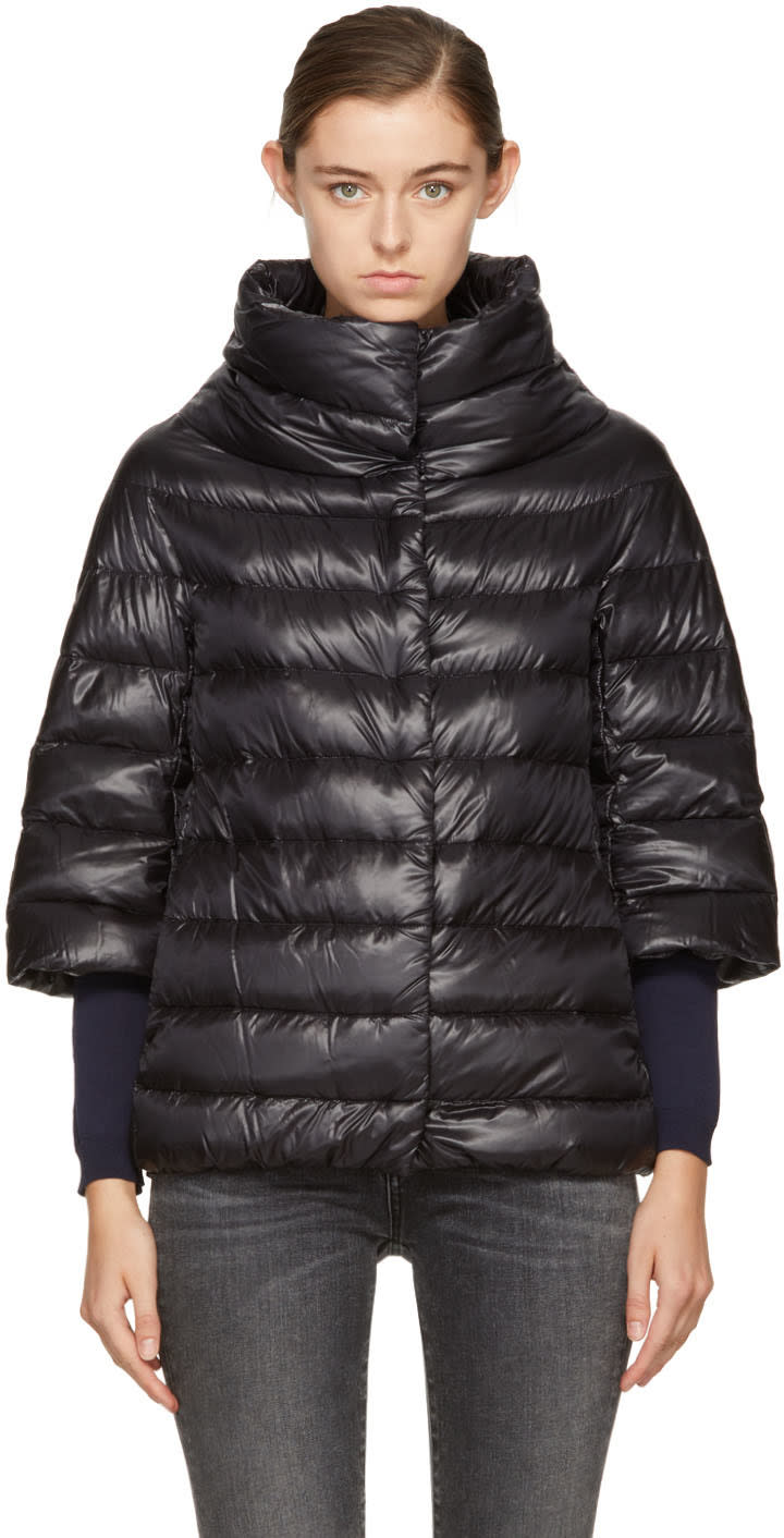 Image of Herno Black Down Three-quarter Cocoon Jacket