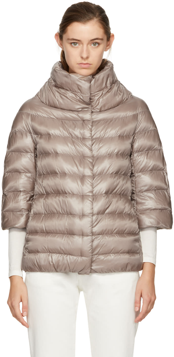 Image of Herno Beige Down Three-quarter Cocoon Jacket
