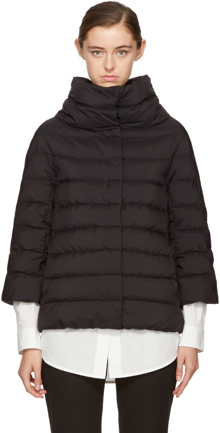 Image of Herno Black Matte Down Three-quarter Cocoon Jacket