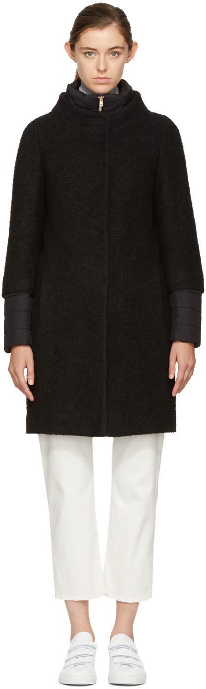 Image of Herno Black Wool and Nylon Layered Cocoon Coat