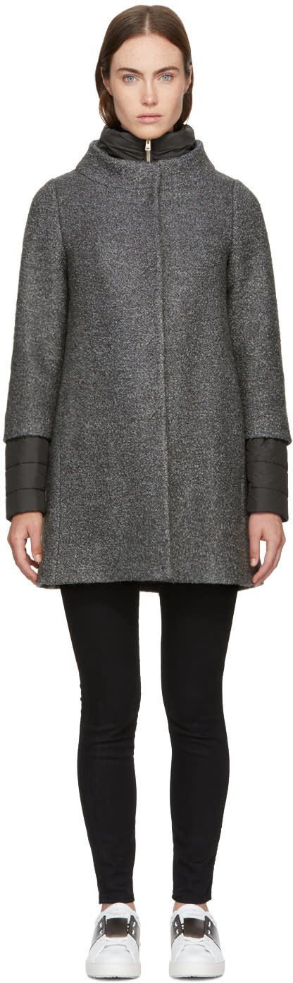 Image of Herno Grey Twirly Wool Bouclé Coat