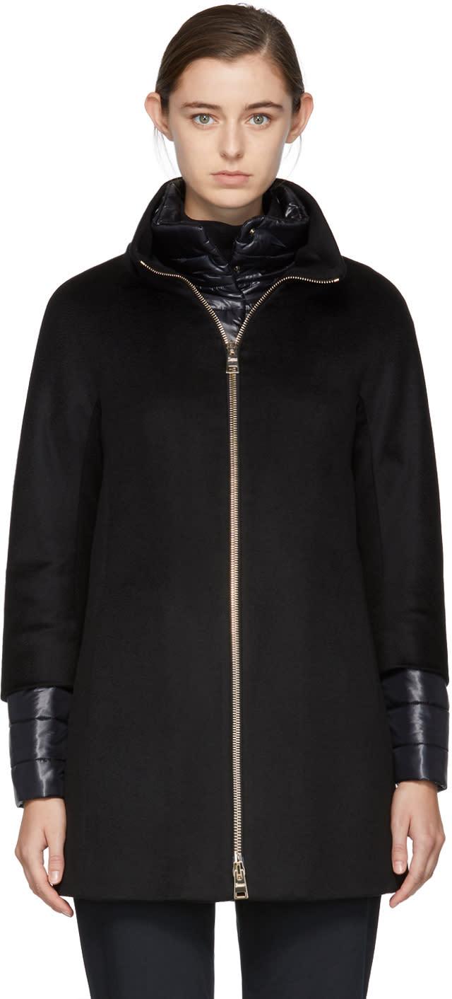 Image of Herno Black Short Cashmere Coat