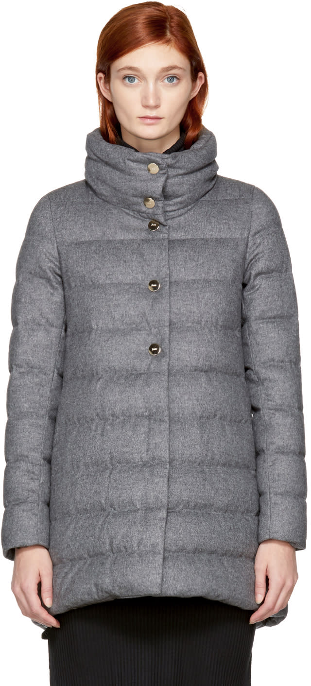 Image of Herno Grey Down Dropglide High Low Coat