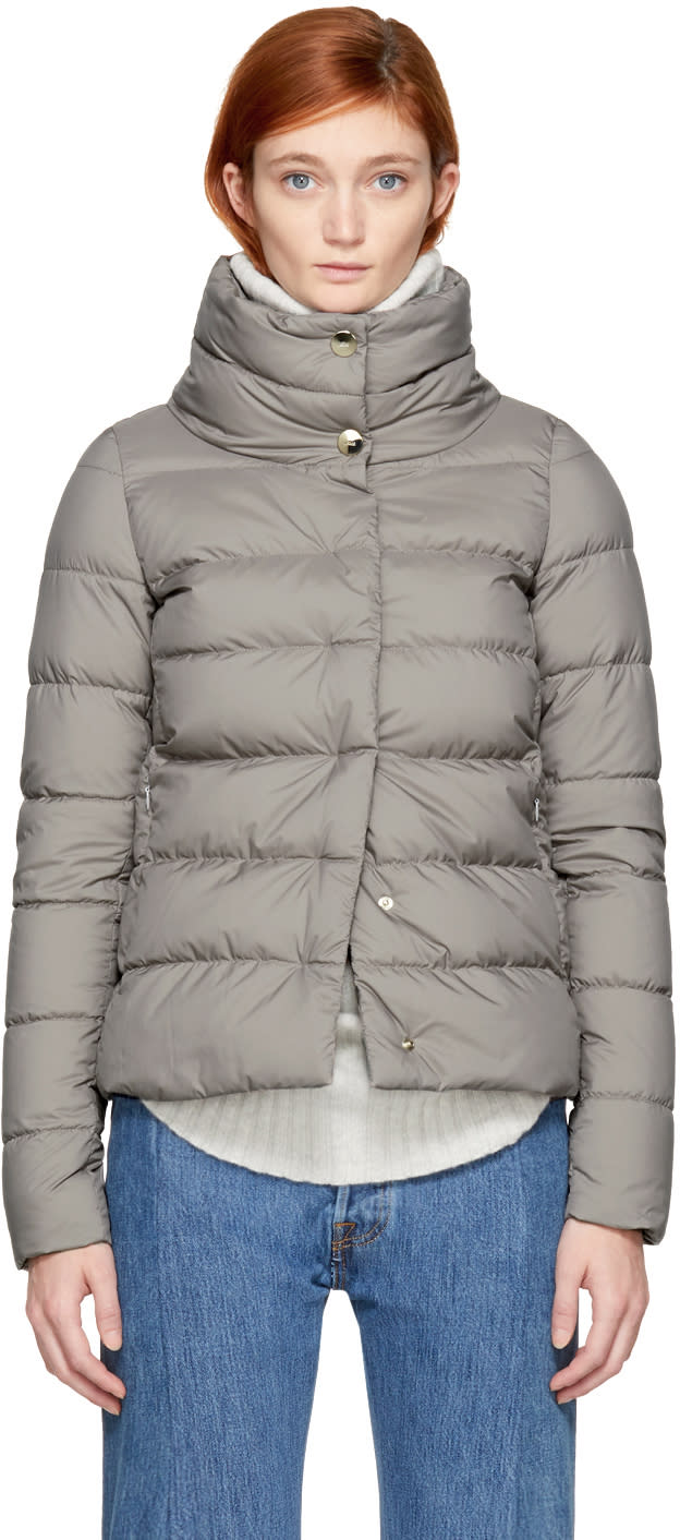 Image of Herno Grey Down High Collar Puffer Jacket