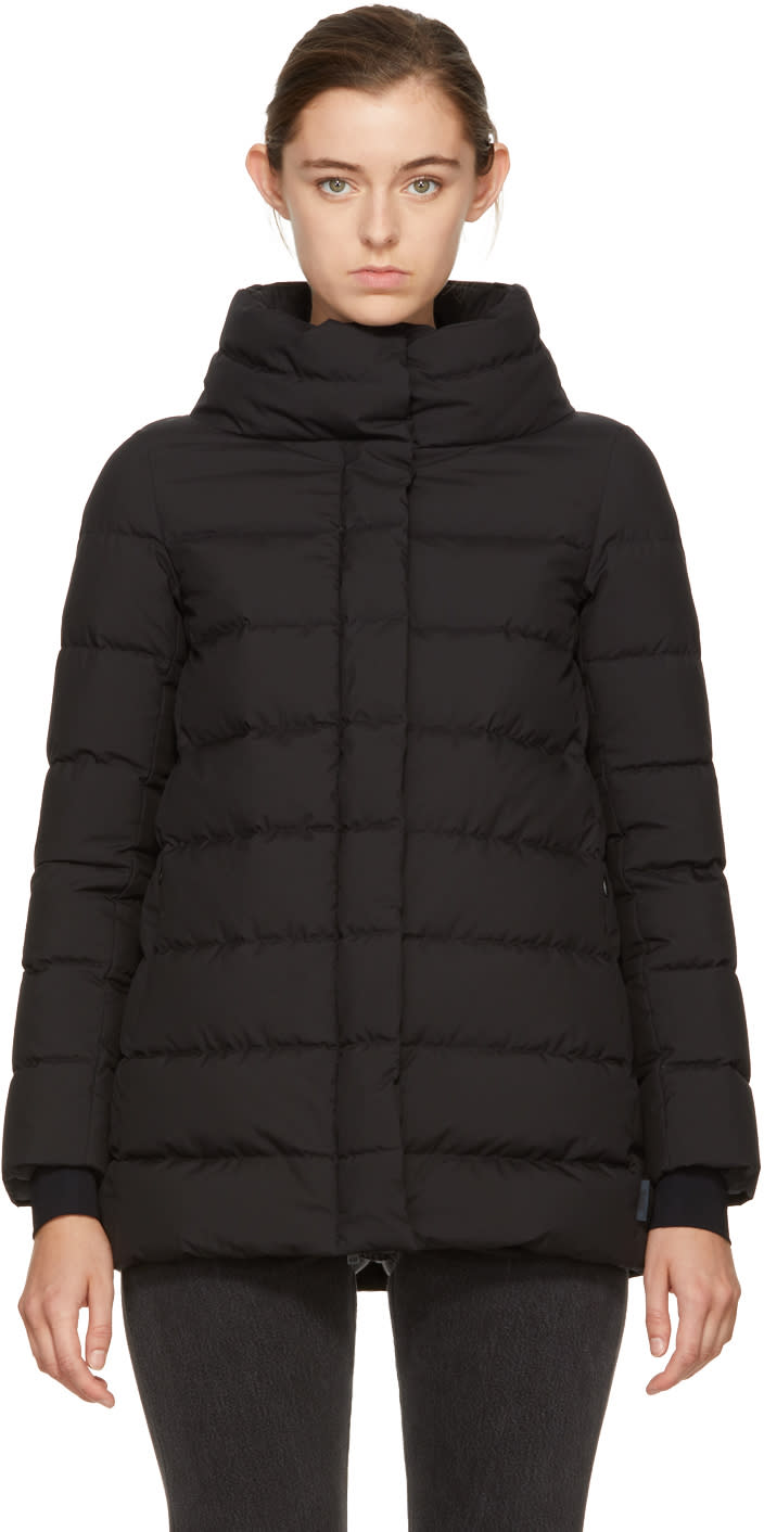 Image of Herno Black Down A-line Jacket