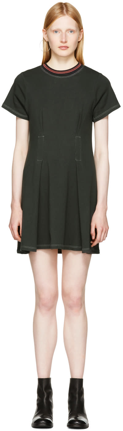 Image of Eckhaus Latta Black Topstitched T-shirt Dress