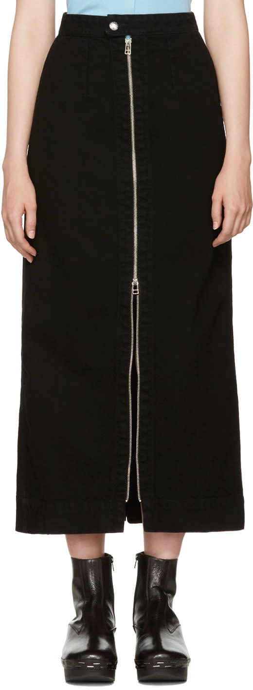 Image of Eckhaus Latta Black Denim Zip Front Skirt
