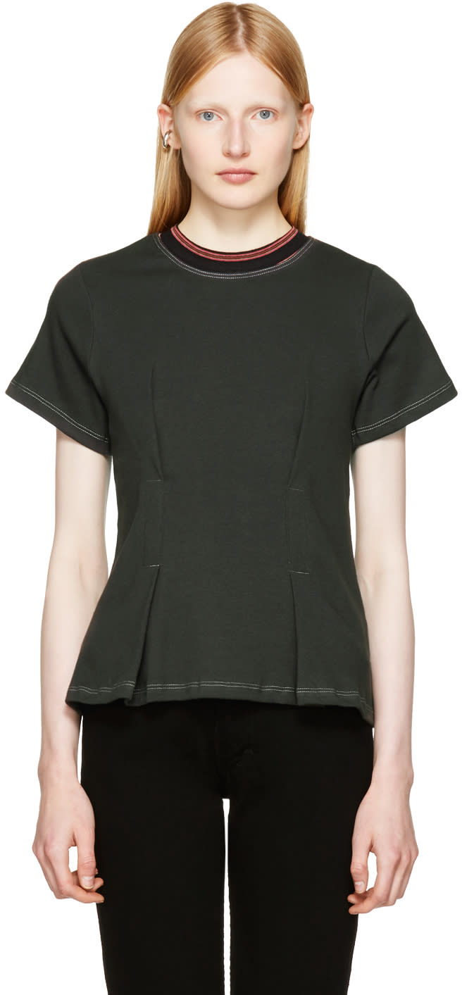 Image of Eckhaus Latta Black Topstitched T-shirt