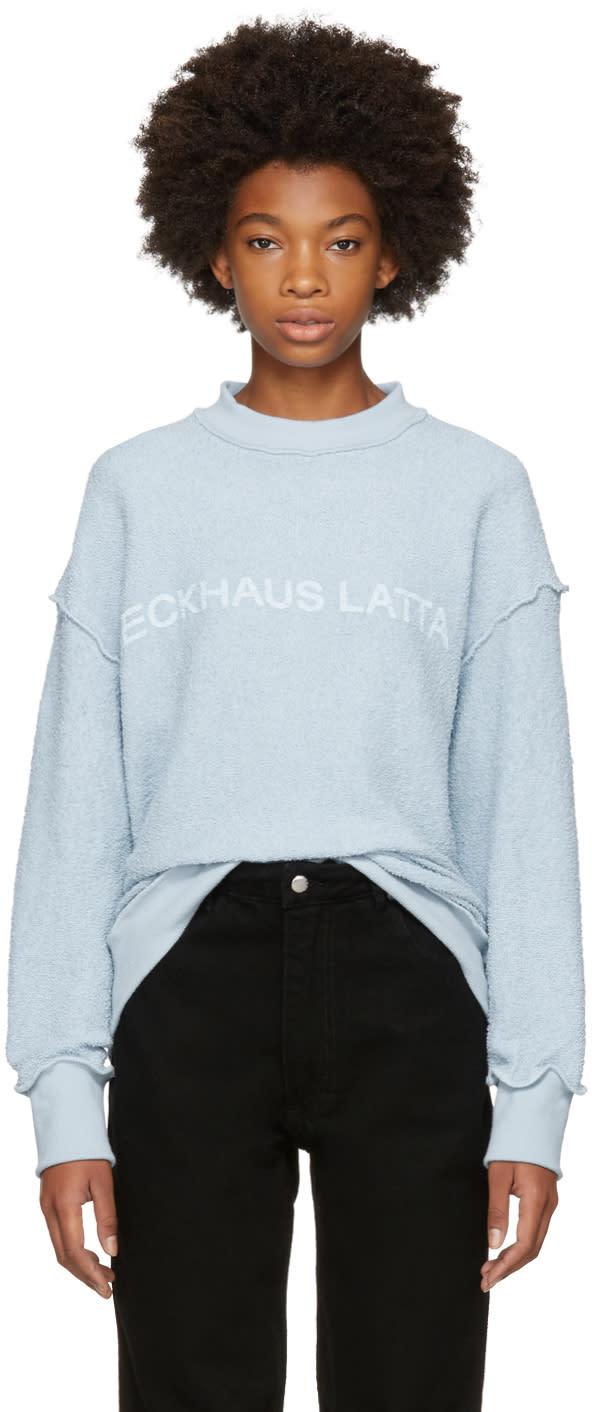 Image of Eckhaus Latta Blue Logo Sweatshirt