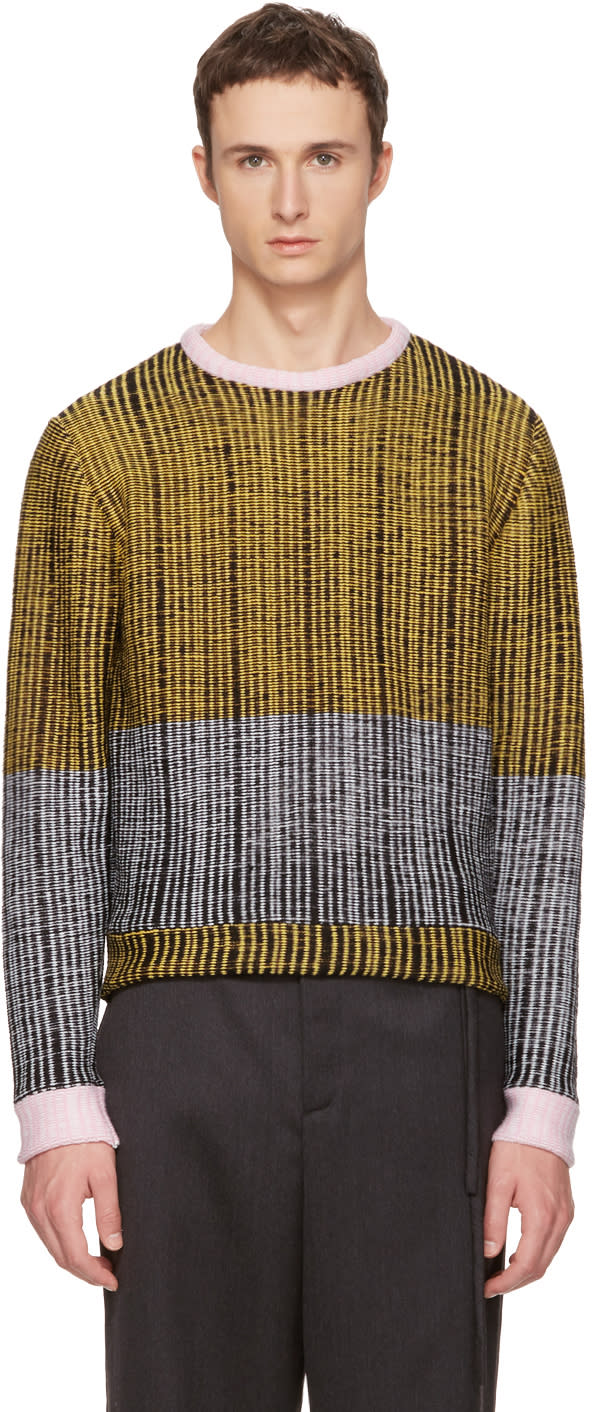 Image of Eckhaus Latta Black and Yellow Wiggly Road Sweater
