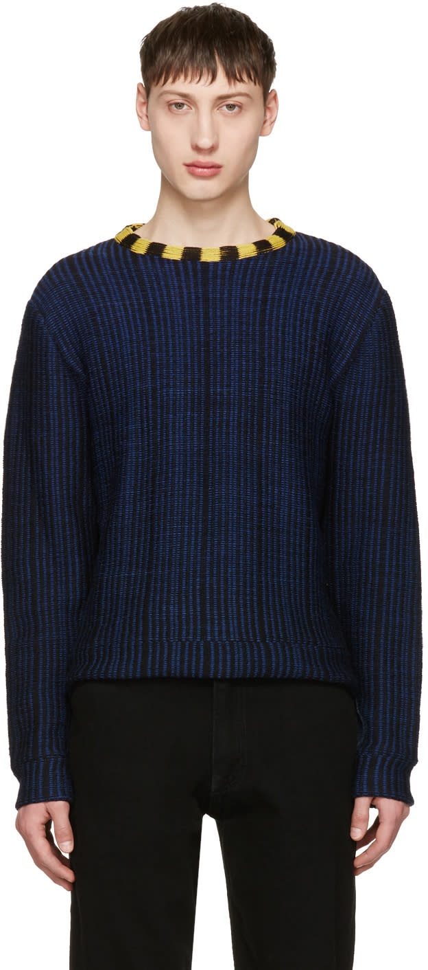 Eckhaus Latta Navy Wiggly Road Sweater