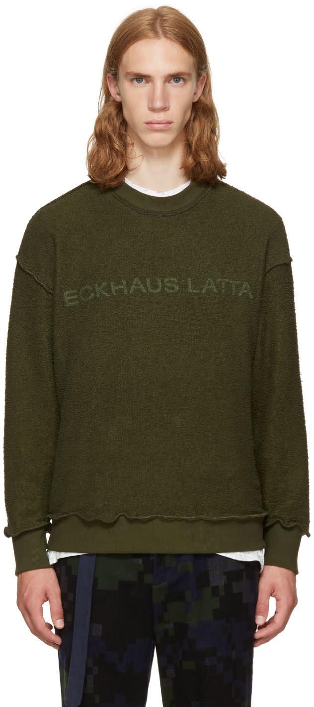 Image of Eckhaus Latta Green Logo Sweatshirt
