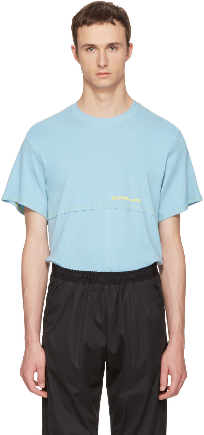 Image of Eckhaus Latta Blue Lapped T-shirt
