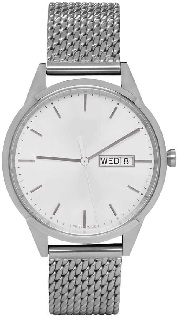 Image of Uniform Wares Silver Mesh C40 Calendar Watch