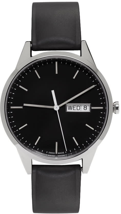 Uniform Wares Silver and Black Rubber C40 Calendar Watch
