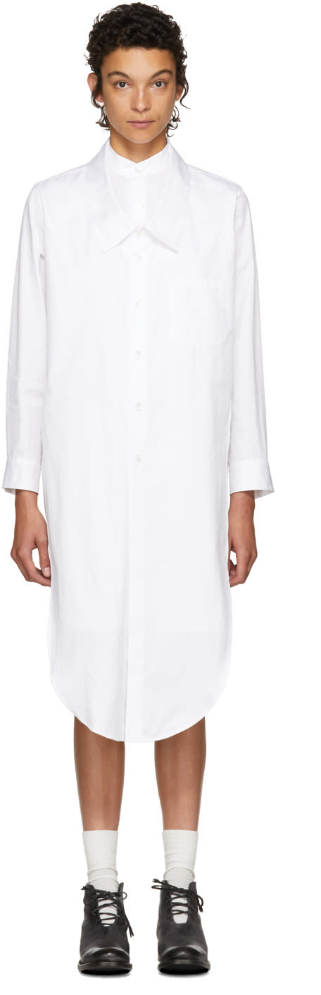Image of Nocturne 22 White Double Front Shirt Dress