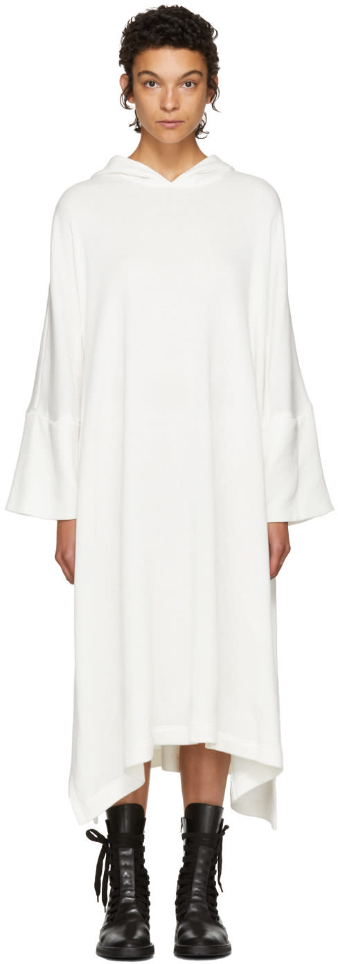 Image of Nocturne 22 Off-white Fleece Hooded Dress