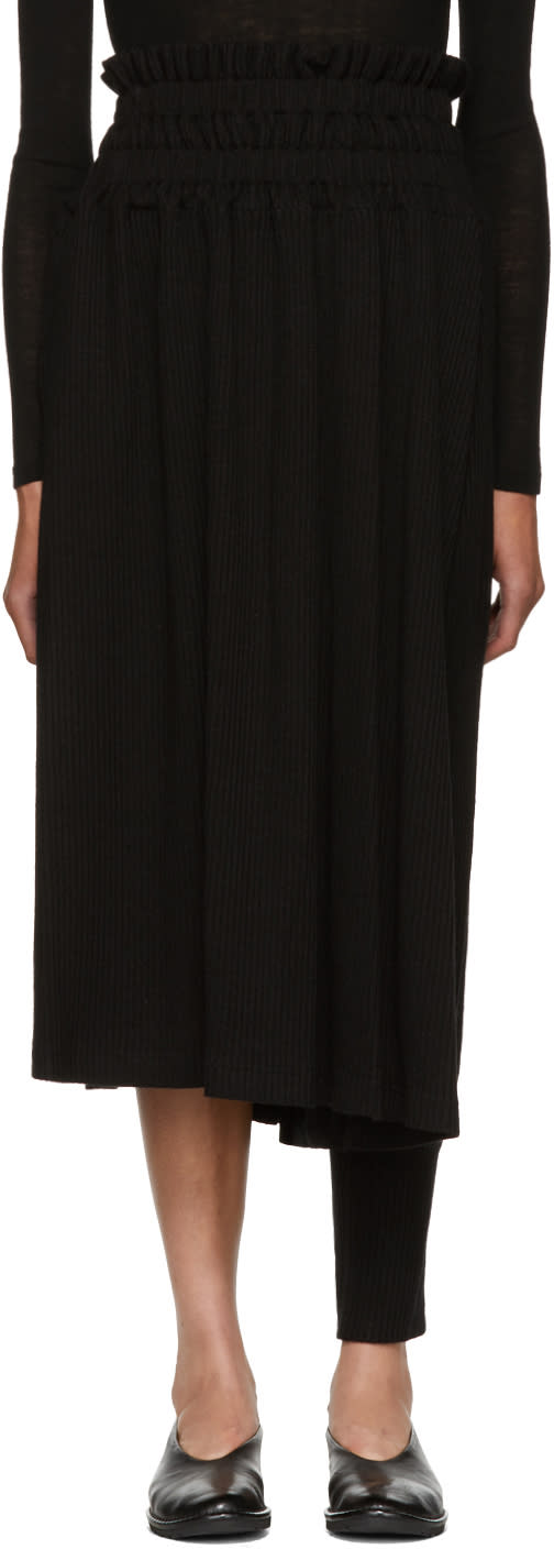 Image of Nocturne 22 Black Asymmetric Skirt Trousers