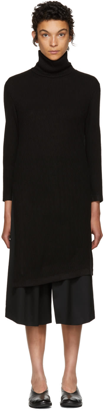 Image of Nocturne 22 Black Long Asymmetric Turtleneck