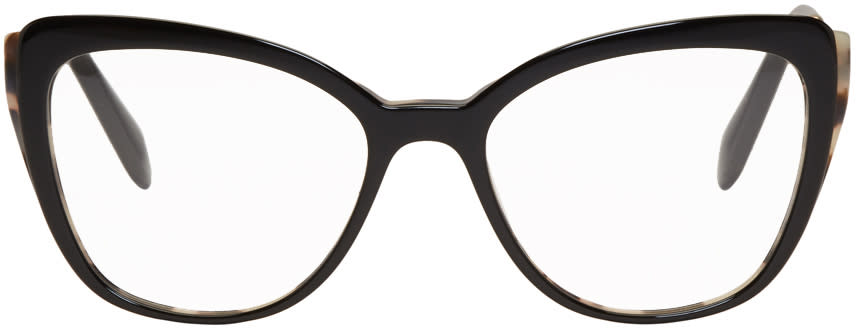 Image of Miu Miu Black and Gold Cat Eye Glasses